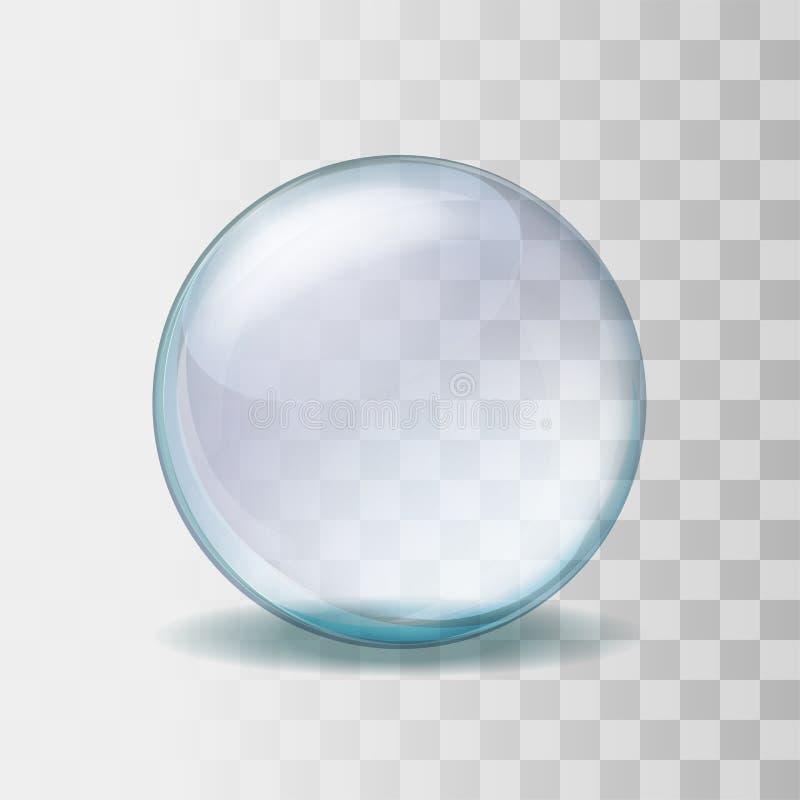 Realistisk genomskinlig glass sfärillustration vektor illustrationer