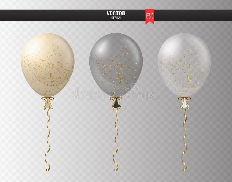 Realistisk genomskinlig heliumuppsättning av ballonger med konfettier i luften Partiet sväller för händelsedesign deltagare royaltyfri illustrationer