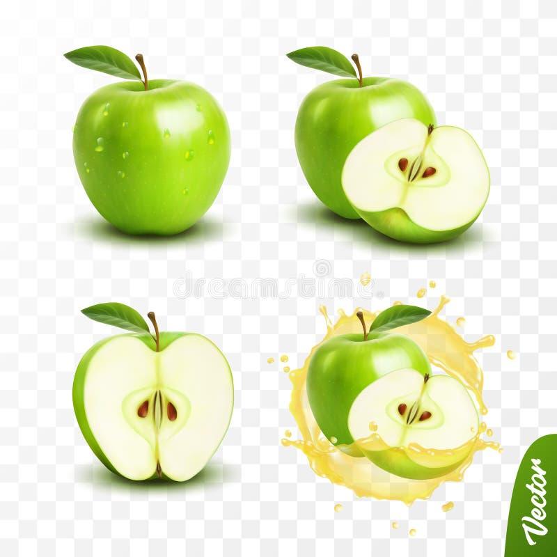 realistisk genomskinlig isolerad uppsättning, helhet och skiva för vektor 3d av äpplet, äpple i en färgstänk av fruktsaft m stock illustrationer