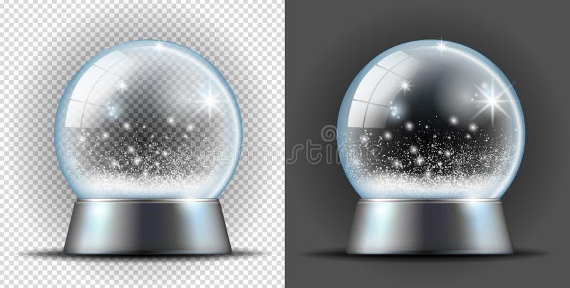 Realistisk genomskinlig snöboll stock illustrationer