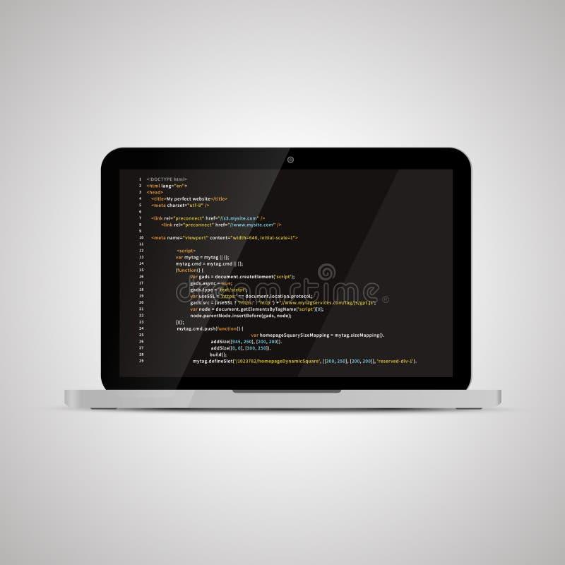Realistisk glansig bärbar dator med enkel websiteHTML-kod på mörker royaltyfri illustrationer