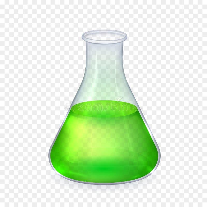 Realistisk glass laboratoriumflaska med stock illustrationer