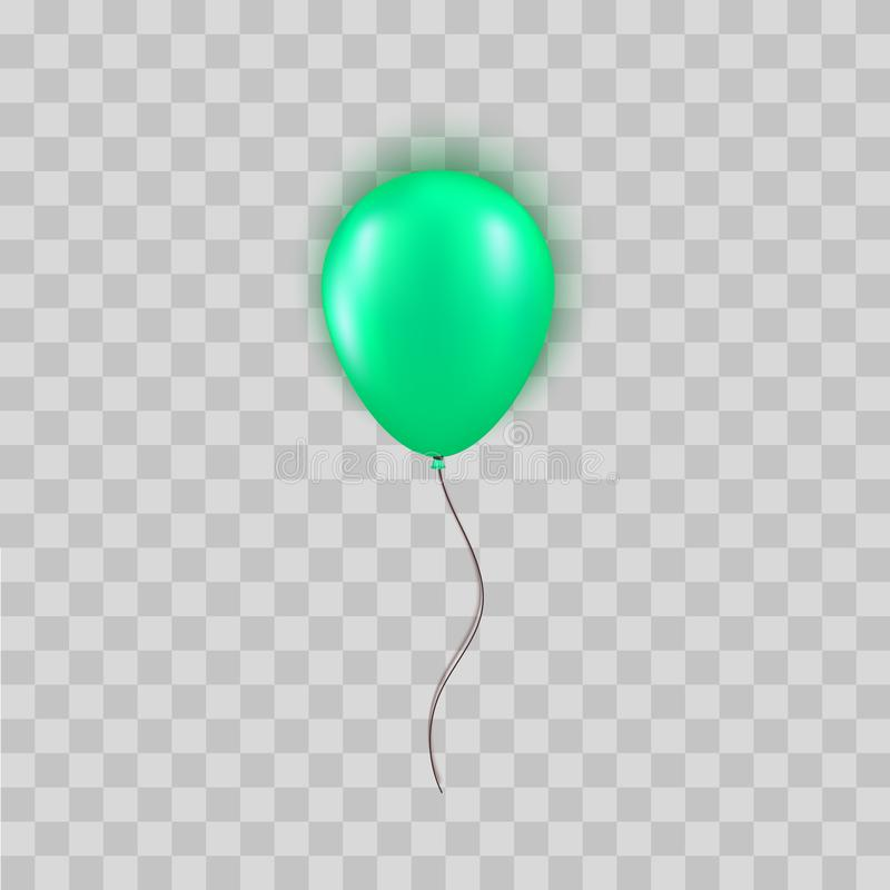 Realistisk grön ballong som isoleras på genomskinlig bakgrund Designbeståndsdel för födelsedagparti, storslaget öppna eller stora royaltyfri illustrationer
