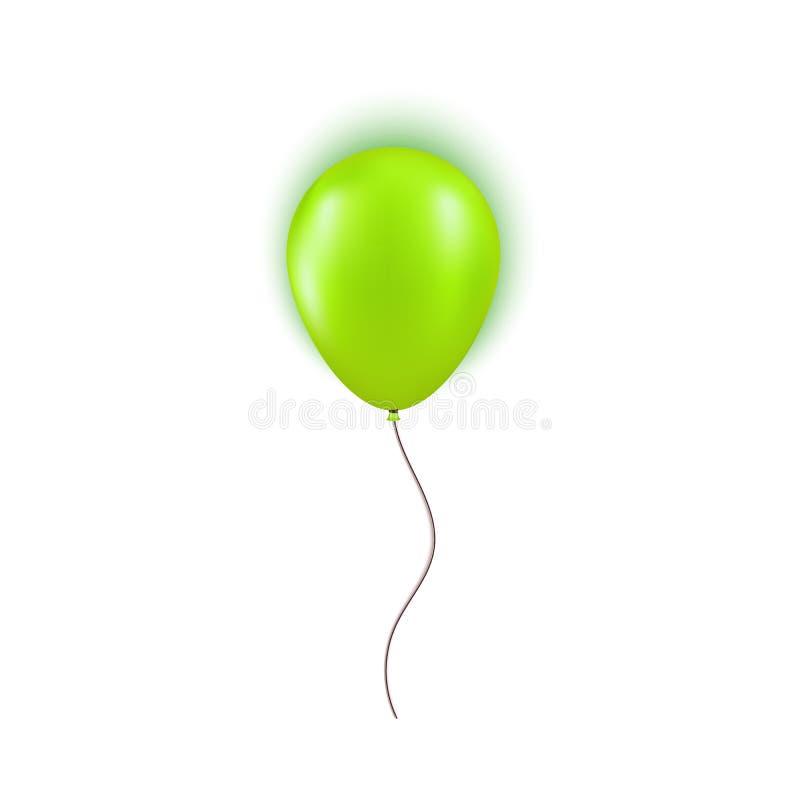 Realistisk grön ballong som isoleras på vit bakgrund Designbeståndsdel för födelsedagparti, storslaget öppna eller stora Sale vektor illustrationer