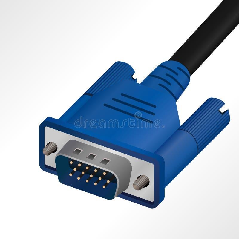 Realistisk grafisk VGA kabel för dator, projektor, television, etc. stock illustrationer