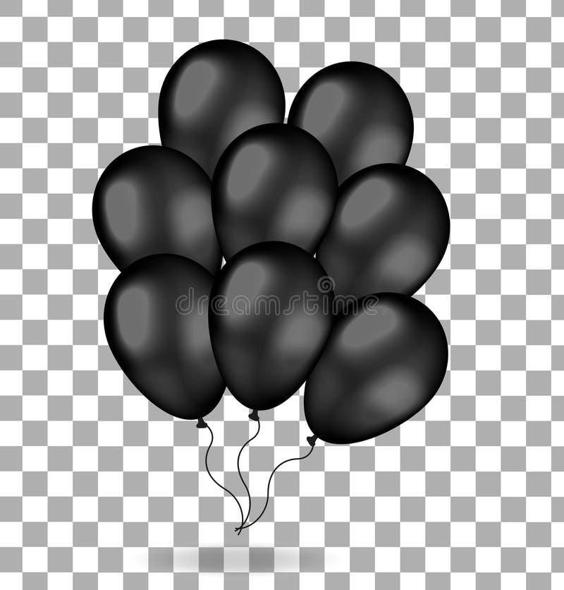 Realistisk grupp av svarta ballonger 3d sväller för svarta fredag bakgrund isolerad white också vektor för coreldrawillustration vektor illustrationer