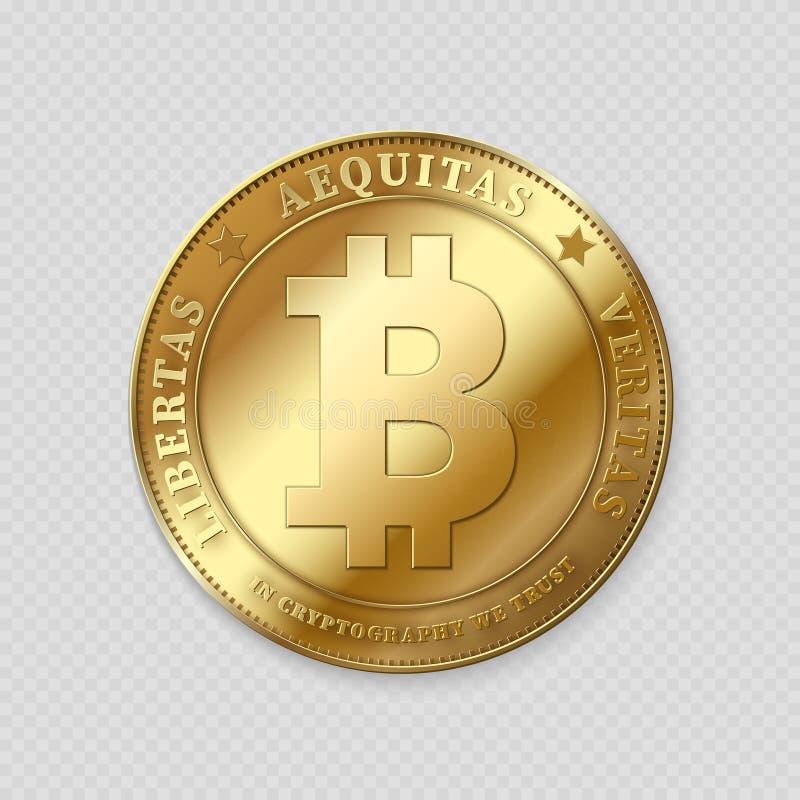 Realistisk guld- bitcoin på genomskinlig bakgrund vektor illustrationer