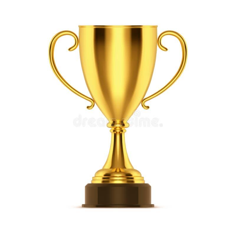 Realistisk guld- kopp- eller för vinnare 3d trofé, bunke vektor illustrationer