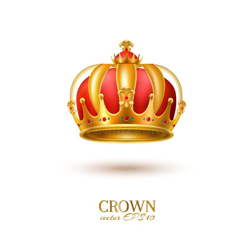 Realistisk guld- krona 3d för vektor royaltyfri illustrationer