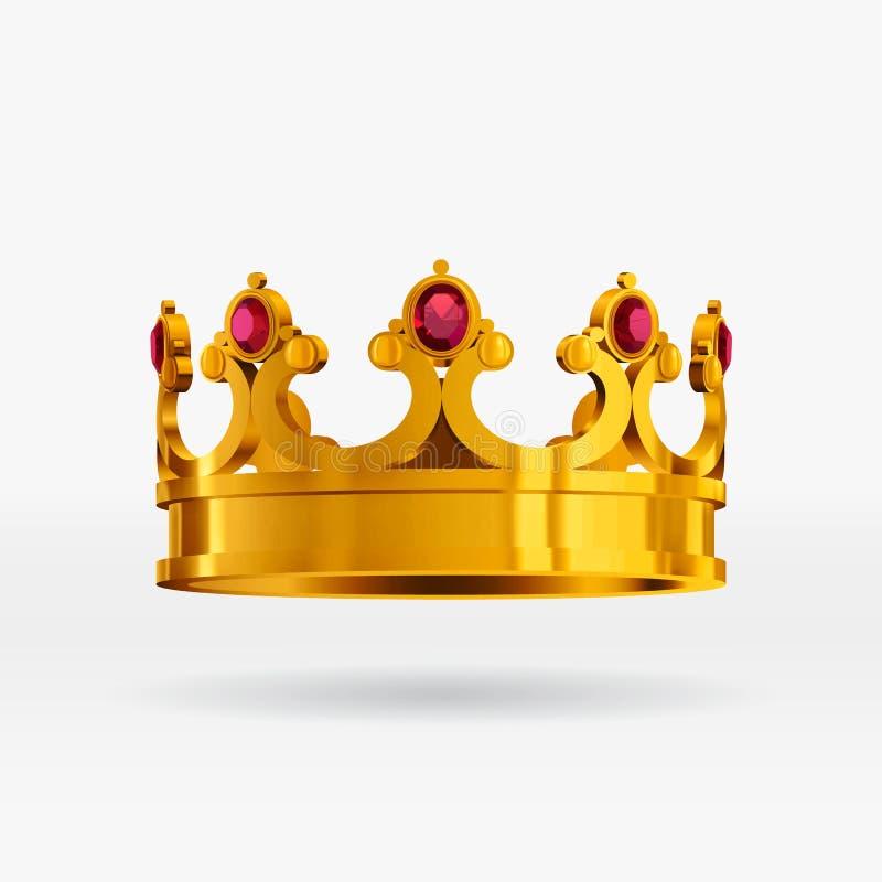 Realistisk guld- krona för vektor med ädelstenar kunglig guld- krona med gemstones arkivbild