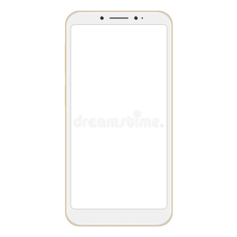Realistisk guld- smartphone som isoleras på vit bakgrund Den frameless guld- vektorn ilar telefonen, mobiltelefon royaltyfri illustrationer