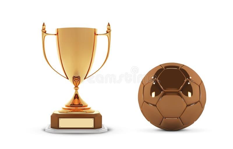 Realistisk guld- trofékopp med den guld- bollen Vinnarekopp och fotbollboll Skinande guld- utmärkelser för trofé 3d på trähylla stock illustrationer