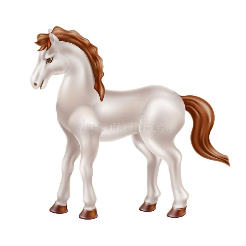 Realistisk hästleksak för vektor, docka med den svarta sadeln vektor illustrationer