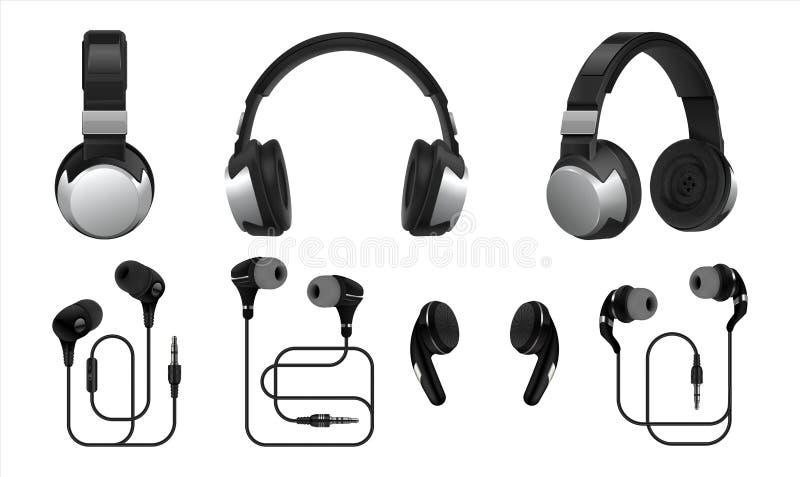 realistisk h?rlurar trådlösa hörlurar 3D och hörlurar med mikrofon för lyssnande musik och spela Vektortyper av isolerade earbuds royaltyfri illustrationer