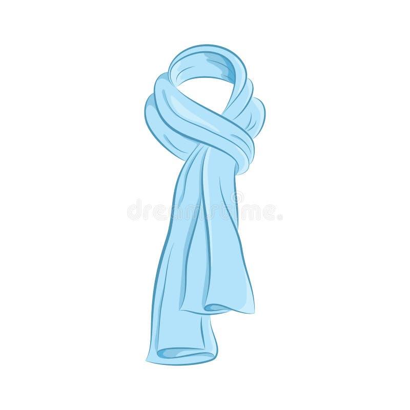Realistisk halsduk Kvinnamodetillbehör Det blåa objektet som isoleras på vit bakgrund Vektortecknad filmillustration i handattrak arkivbilder