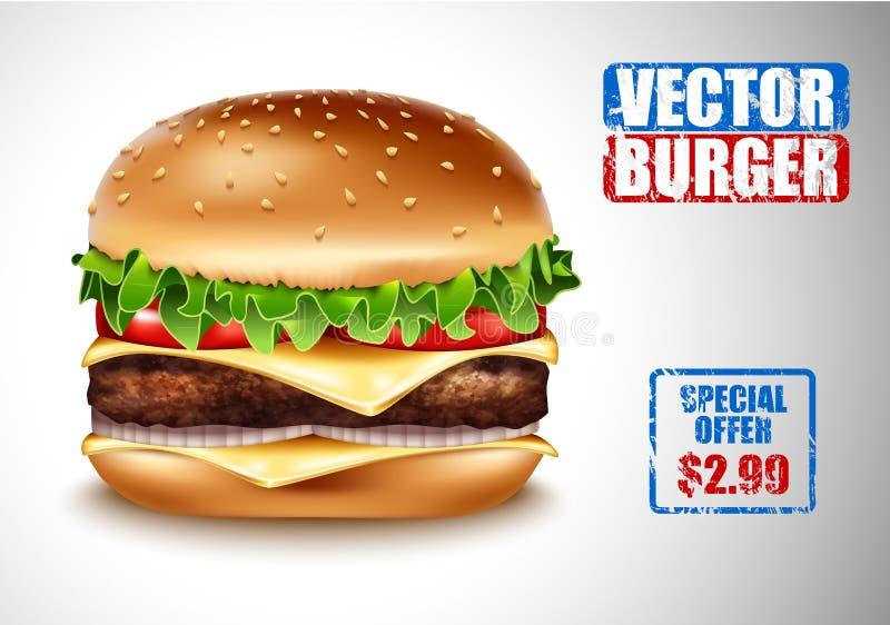 Realistisk hamburgare för vektor Amerikansk ostburgare för klassisk hamburgare med nötkött för ost för grönsallattomatlök på vit  royaltyfri illustrationer