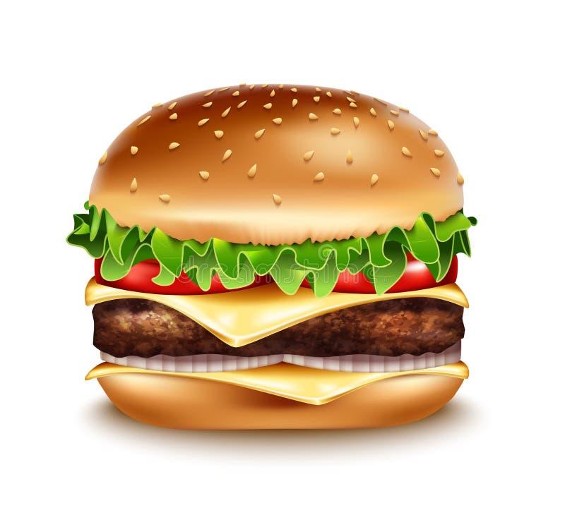 Realistisk hamburgaresymbol för vektor Klassisk hamburgareamerikanostburgare vektor illustrationer