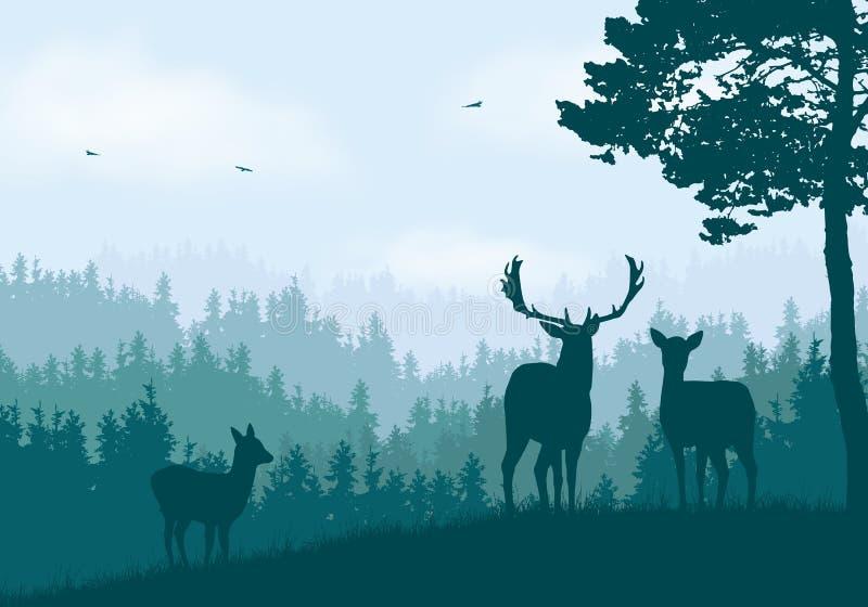 Realistisk illustration av berglandskapet med barrskogen under klar blå och grön himmel med vita moln Hjortar doe royaltyfri illustrationer