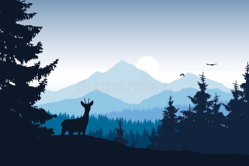 Download Realistisk Illustration Av Berglandskapet Med Skogen Vektor Illustrationer - Illustration av modell, örn: 106838835
