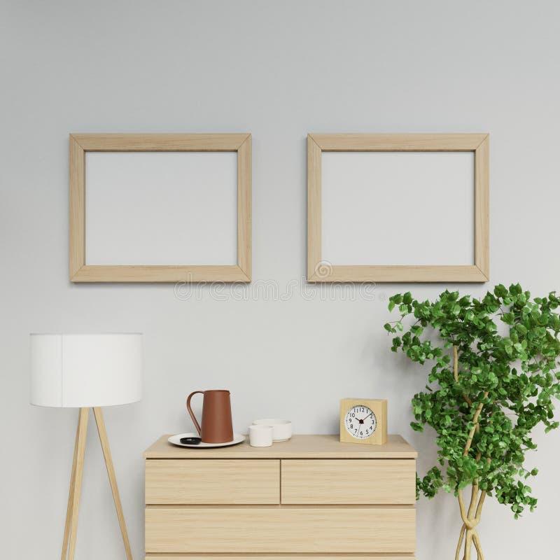 Realistisk illustration av den nordiska lägenhetinre med tom affischåtlöje för format två a2 upp med ljust hänga för träram stock illustrationer