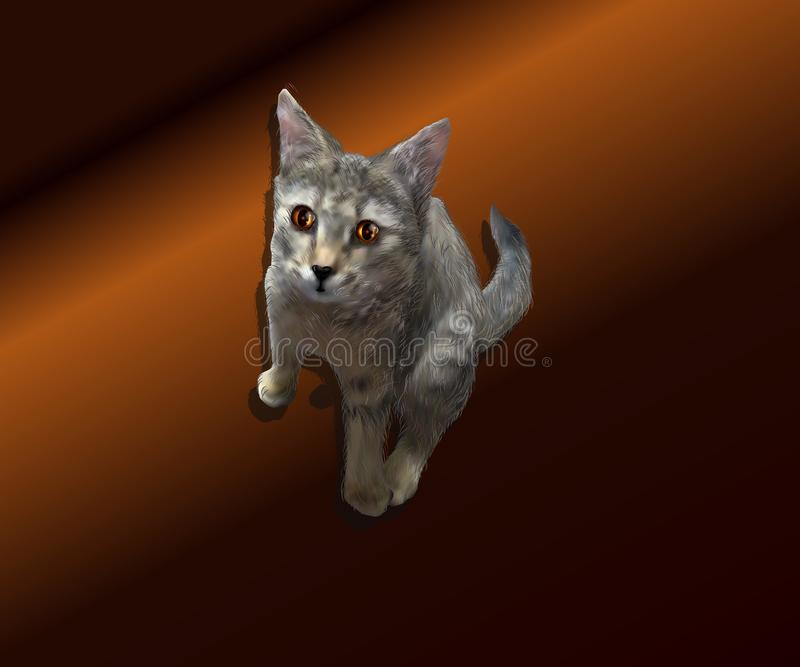Realistisk illustration av en kattunge på en brun bakgrund arkivbild