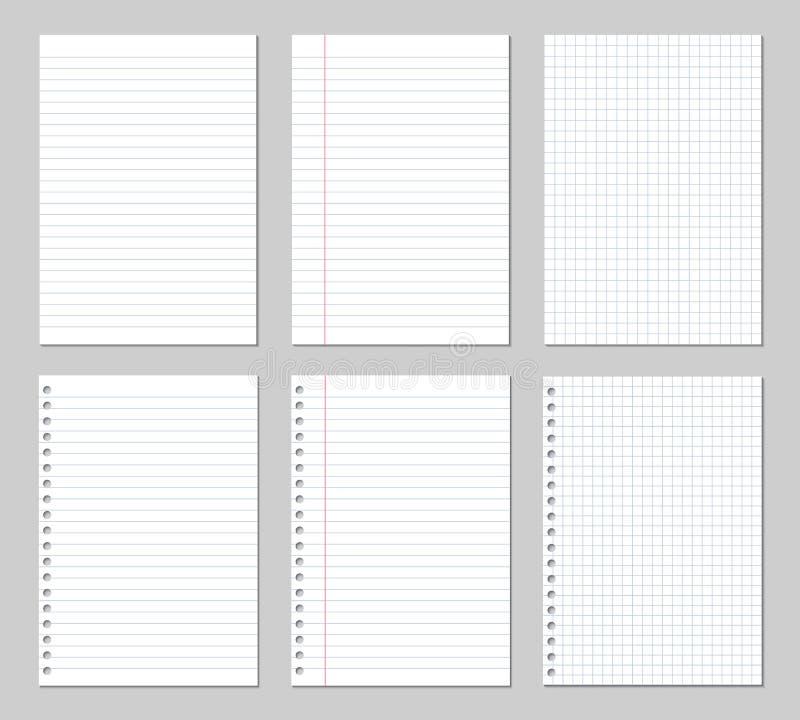 Realistisk illustration av en uppsättning av pappers- ark, fyrkantigt och fodrat med limbindninghål, vektor royaltyfri illustrationer