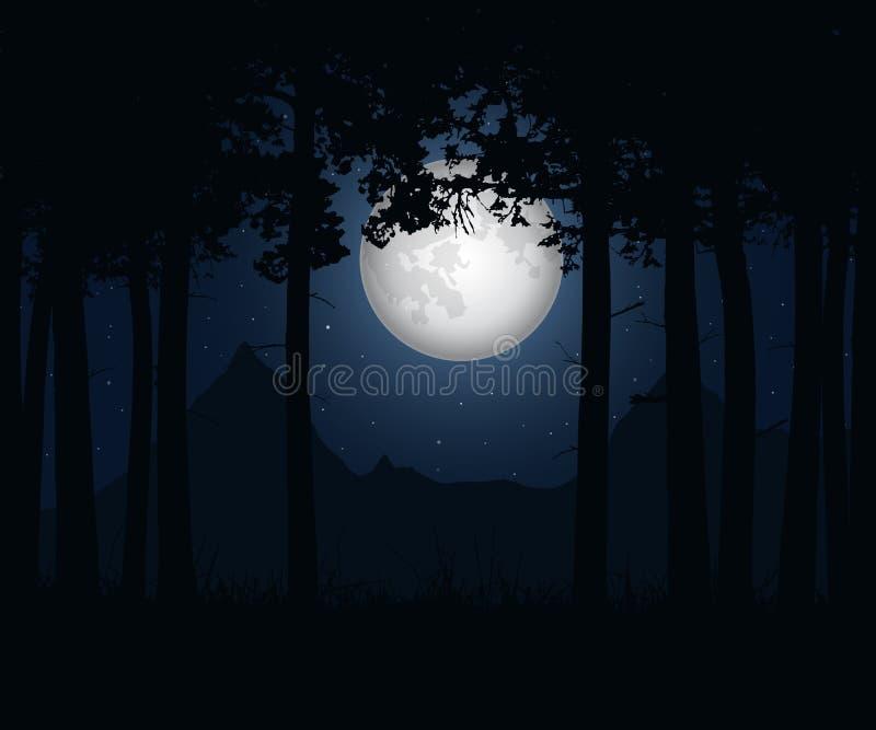 Realistisk illustration av ett landskap med barrträdunde vektor illustrationer