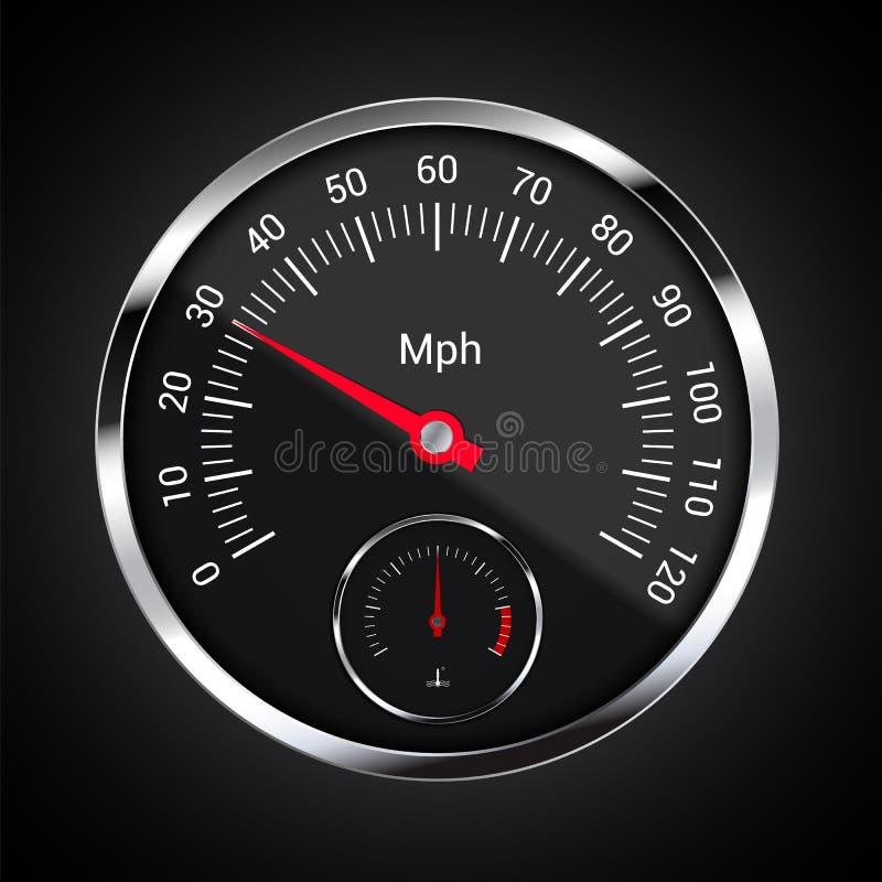 Realistisk illustration av hastighetsmätaren på den mörka bilinstrumentbrädan med milkostnadindikatorn per timmen och motortemper royaltyfri illustrationer