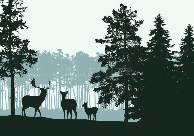 Realistisk illustration av landskapet med barrskogen, hjortar och familjen, under den gröna våren eller hösthimmel, vektor stock illustrationer