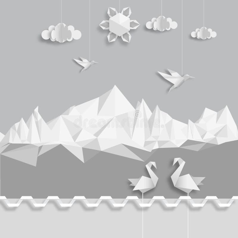 Realistisk illustration, av origamimoln, fåglar och solen royaltyfri illustrationer