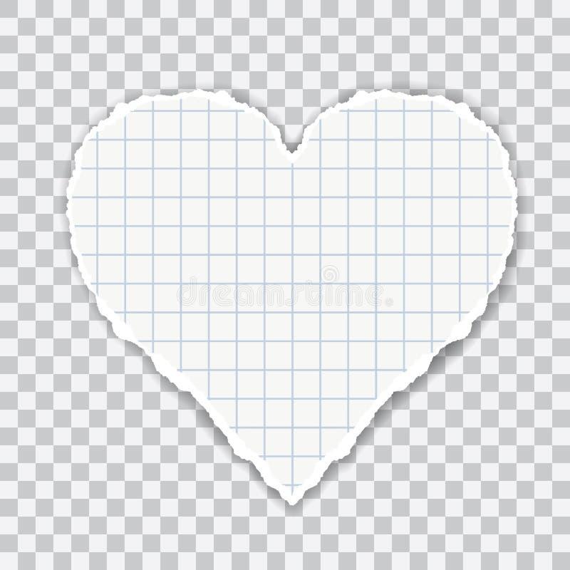 Realistisk illustration av sönderrivet kvadrerat papper i hjärtaform Isolerat på genomskinlig bakgrund, vektor stock illustrationer