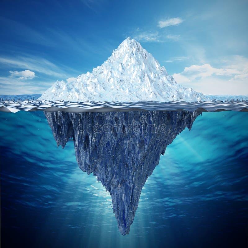 Realistisk illustration 3D av ett isberg illustration 3d stock illustrationer