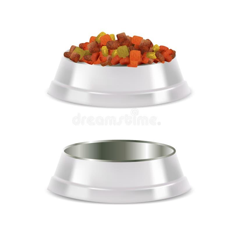 Realistisk illustration för älsklings- matskåluppsättningvektor royaltyfri illustrationer