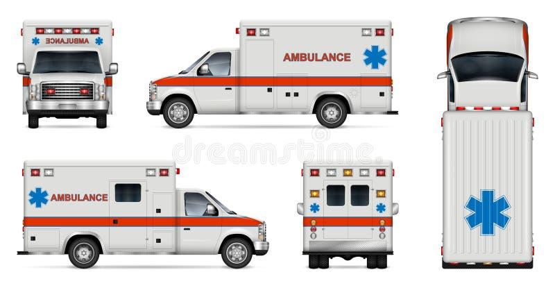 Realistisk illustration för ambulansbilvektor vektor illustrationer
