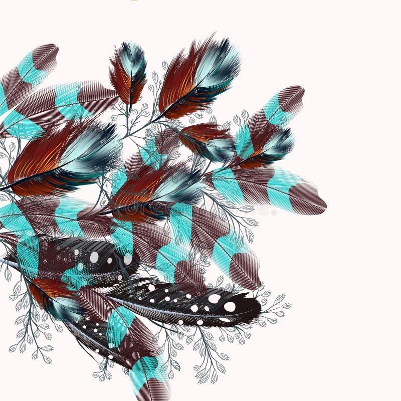 Realistisk illustration för fjäder i bohostil royaltyfri illustrationer