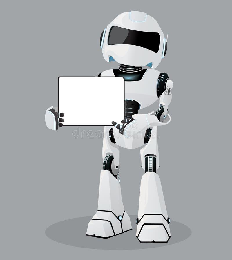 Realistisk illustration för vektor av den vita roboten Tablet i händer stock illustrationer
