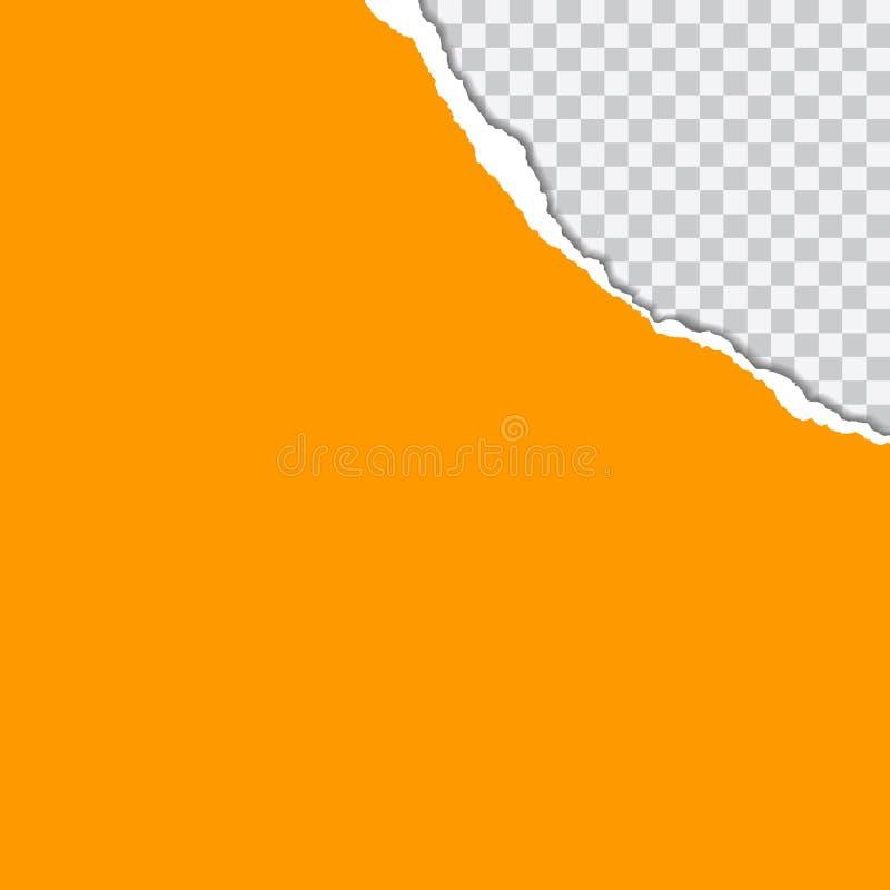 Realistisk illustration för vektor av orange sönderrivet papper med skugganolla royaltyfri illustrationer