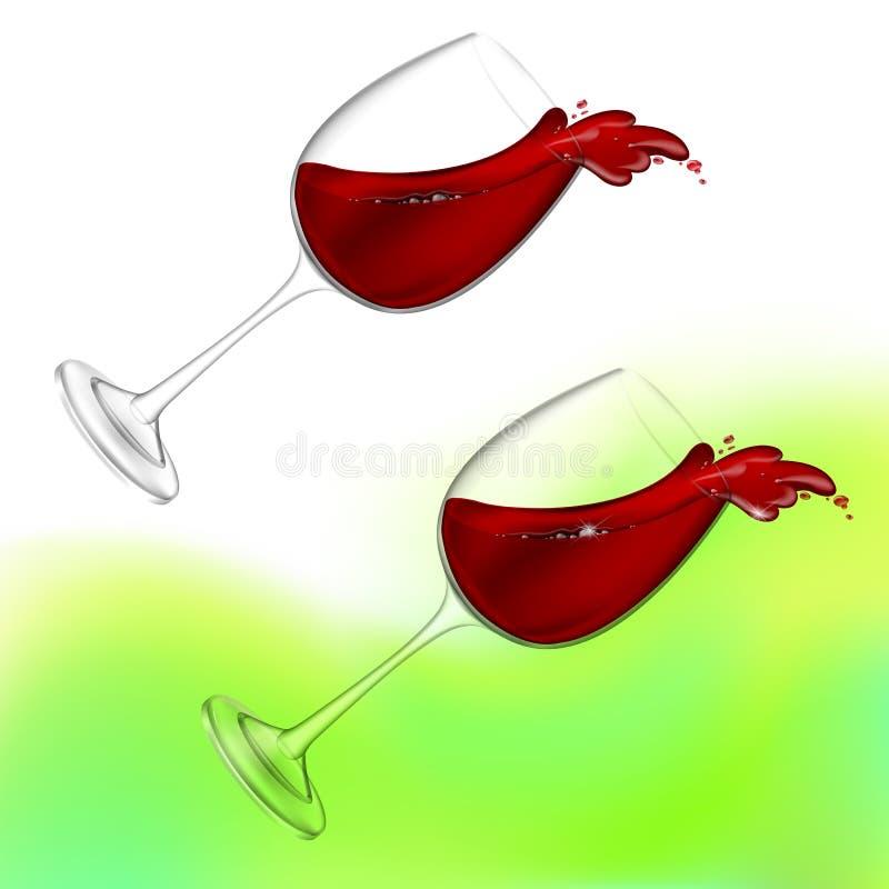 realistisk illustration för vektor 3D Genomskinlig isolerad vinglas med rött vin Rött vin som häller ut ur en glass färgstänk royaltyfri illustrationer