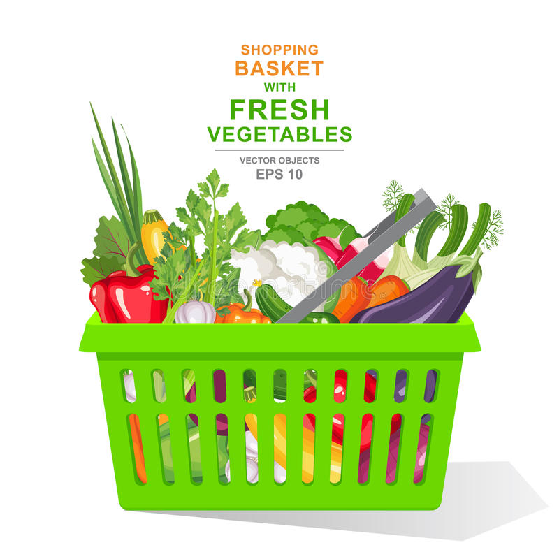 realistisk illustration för vektor Färgrika nya organiska grönsaker och örter i den gröna shoppingkorgen som isoleras på vit bakg stock illustrationer