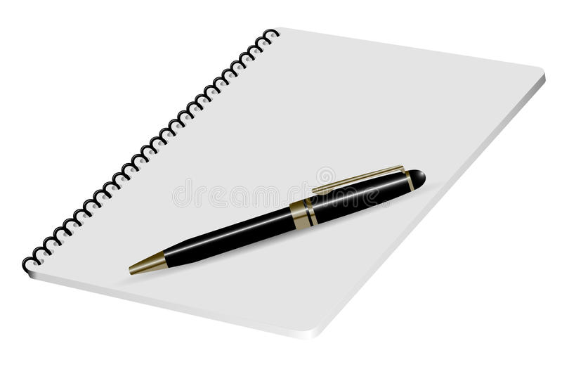 Realistisk illustrationnotepad för vektor med den lyxiga pennan royaltyfri illustrationer