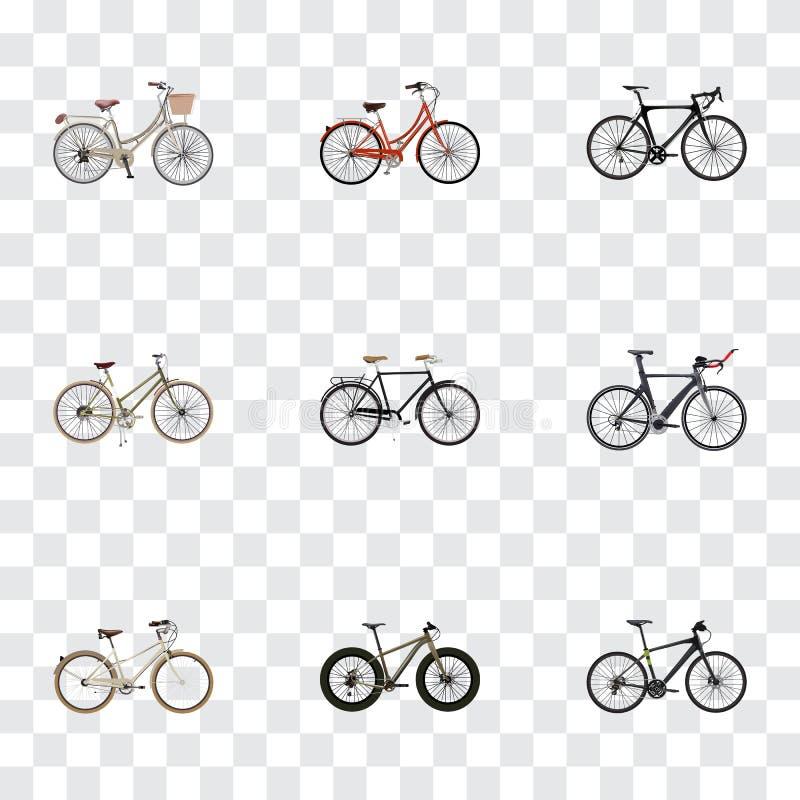 Realistisk innegrej, gammal, konkurrenscykel och andra vektorbeståndsdelar Uppsättning av realistiska symboler för cykel också vektor illustrationer