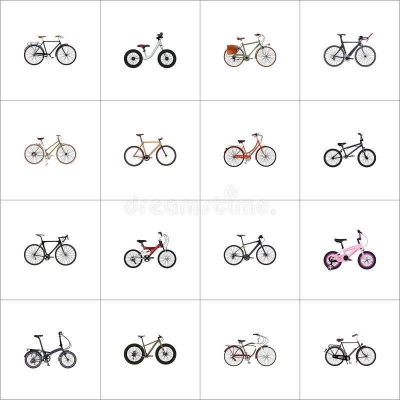 Realistisk innegrej, tonåring, konkurrenscykel och andra vektorbeståndsdelar Uppsättningen av realistiska symboler inkluderar ock vektor illustrationer