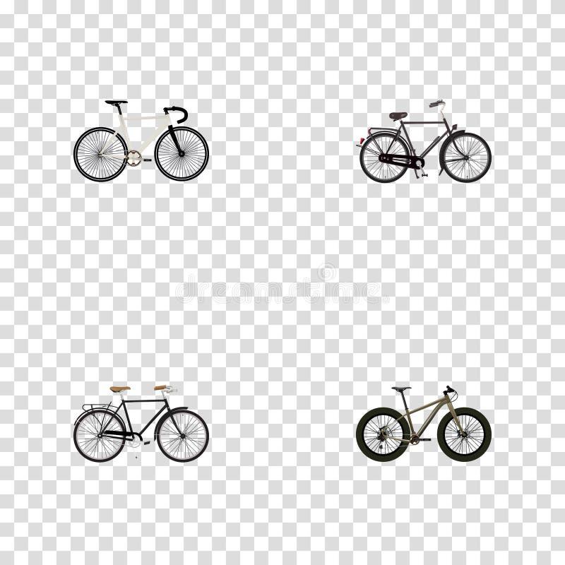 Realistisk innegrej, väghastighet, Bmx och andra vektorbeståndsdelar Uppsättningen av realistiska symboler för cykel inkluderar o vektor illustrationer