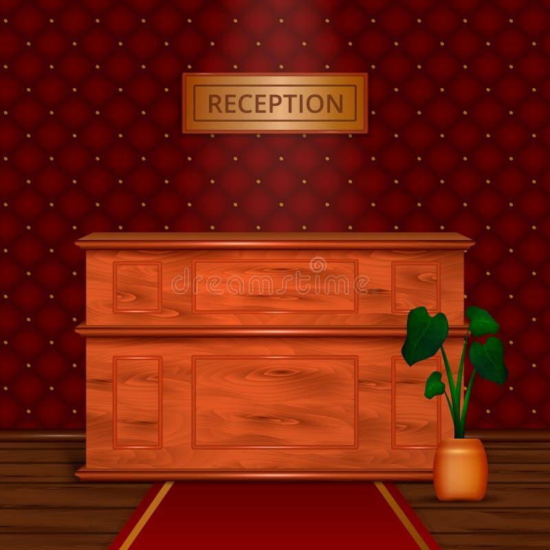 Realistisk inre för hotell för mottagandeskrivbord stock illustrationer