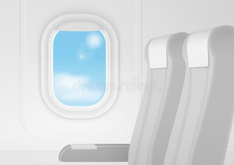 Realistisk inre för vektorflygplantransport Flygplan inom platser presiderar nära fönster Begrepp för lopp för affärsgrupp vektor illustrationer