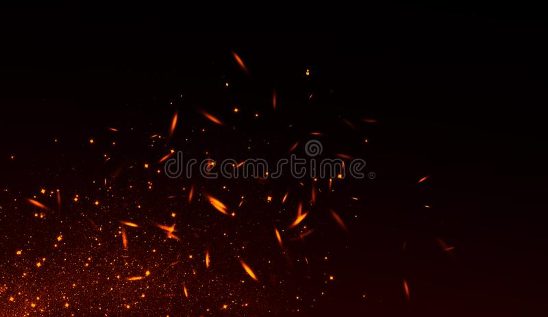 Realistisk isolerad brandeffekt för garnering och täcka på svart bakgrund Begreppet av partiklar, mousserar, flamman och ljus vektor illustrationer