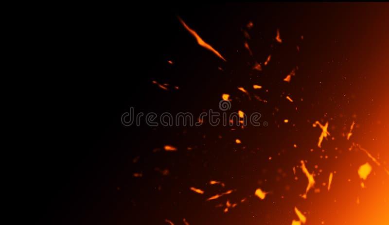 Realistisk isolerad brandeffekt för garnering och täcka på svart bakgrund Begreppet av partiklar, mousserar, flamman och ljus royaltyfri illustrationer