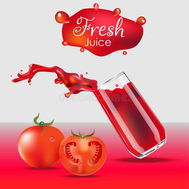 Realistisk isolerad illustration för vektor av tomatfruktsaft i exponeringsglas- och tomatfrukter Färgstänk för tomatfruktsaft fr royaltyfri illustrationer