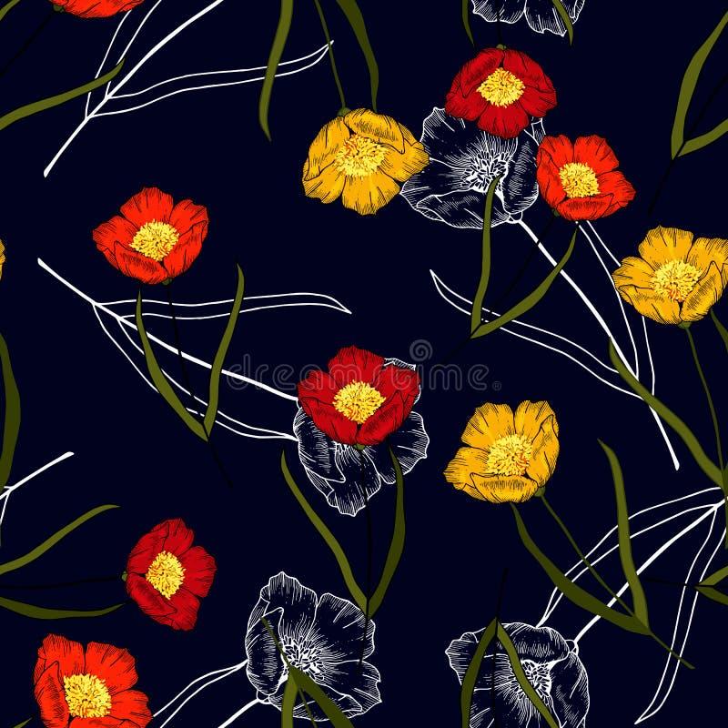 Realistisk isolerad sömlös blom- modell För rosvektor för hand utdragen lös illustration Paradisblommor stock illustrationer
