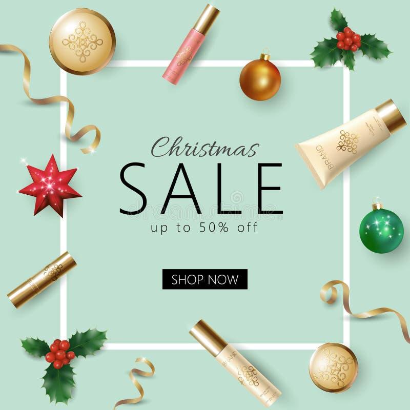 Realistisk jul 3d semestrar mallen för försäljningsrengöringsdukbanret stock illustrationer
